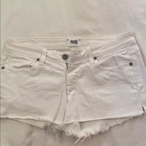 Paige white cutoff jean shorts